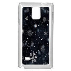 Snowflake Snow Snowing Winter Cold Samsung Galaxy Note 4 Case (White)