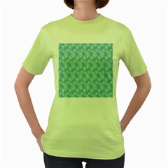 Snowflakes Winter Christmas Women s Green T-Shirt