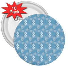 Snowflakes Winter Christmas 3  Buttons (10 pack)