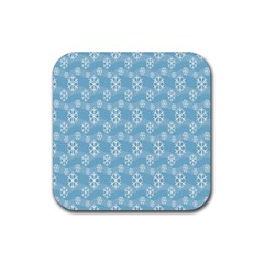 Snowflakes Winter Christmas Rubber Square Coaster (4 pack)