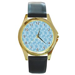 Snowflakes Winter Christmas Round Gold Metal Watch