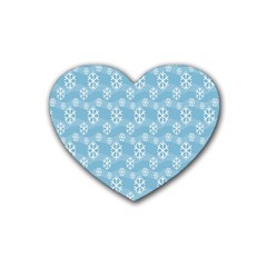Snowflakes Winter Christmas Heart Coaster (4 pack)
