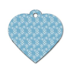 Snowflakes Winter Christmas Dog Tag Heart (One Side)