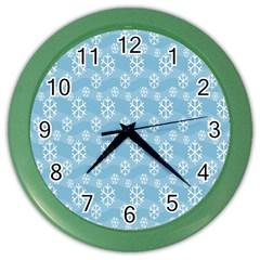 Snowflakes Winter Christmas Color Wall Clocks