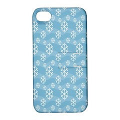Snowflakes Winter Christmas Apple Iphone 4/4s Hardshell Case With Stand