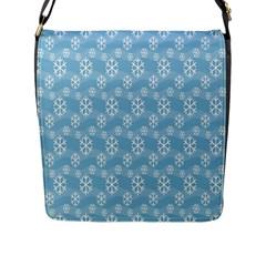 Snowflakes Winter Christmas Flap Messenger Bag (L)