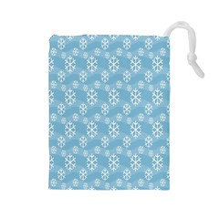 Snowflakes Winter Christmas Drawstring Pouches (large)