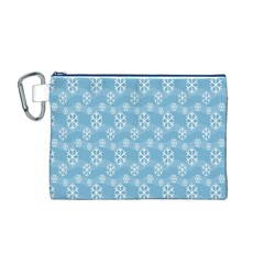 Snowflakes Winter Christmas Canvas Cosmetic Bag (M)