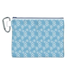 Snowflakes Winter Christmas Canvas Cosmetic Bag (l)