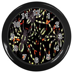 Spiders Colorful Wall Clocks (Black)