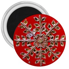 Snowflake Jeweled 3  Magnets