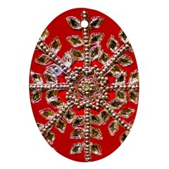Snowflake Jeweled Ornament (Oval)