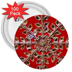 Snowflake Jeweled 3  Buttons (100 Pack)