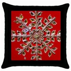 Snowflake Jeweled Throw Pillow Case (Black)
