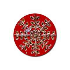 Snowflake Jeweled Rubber Round Coaster (4 pack)