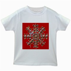 Snowflake Jeweled Kids White T-Shirts