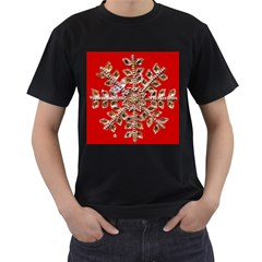 Snowflake Jeweled Men s T-Shirt (Black) (Two Sided)