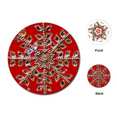 Snowflake Jeweled Playing Cards (Round)