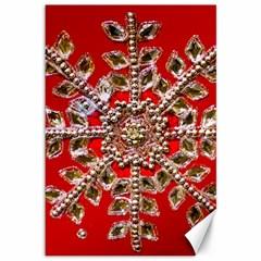 Snowflake Jeweled Canvas 12  x 18