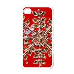 Snowflake Jeweled Apple iPhone 4 Case (White)