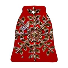Snowflake Jeweled Bell Ornament (Two Sides)