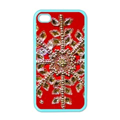 Snowflake Jeweled Apple iPhone 4 Case (Color)
