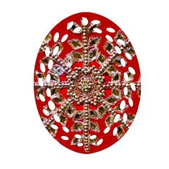Snowflake Jeweled Oval Filigree Ornament (Two Sides)