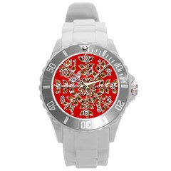 Snowflake Jeweled Round Plastic Sport Watch (l)