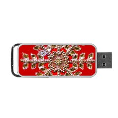 Snowflake Jeweled Portable Usb Flash (one Side)