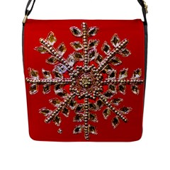 Snowflake Jeweled Flap Messenger Bag (L)