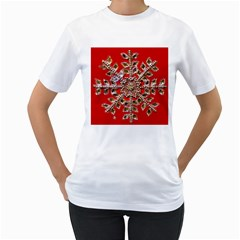 Snowflake Jeweled Women s T-Shirt (White)