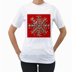 Snowflake Jeweled Women s T Shirt (white)