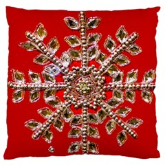 Snowflake Jeweled Large Flano Cushion Case (two Sides)