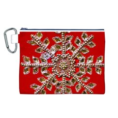 Snowflake Jeweled Canvas Cosmetic Bag (l)