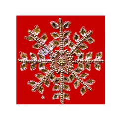 Snowflake Jeweled Small Satin Scarf (square)