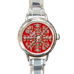 Snowflake Jeweled Round Italian Charm Watch