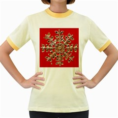 Snowflake Jeweled Women s Fitted Ringer T-Shirts