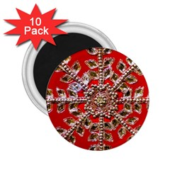 Snowflake Jeweled 2 25  Magnets (10 Pack)