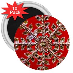Snowflake Jeweled 3  Magnets (10 pack)