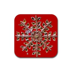 Snowflake Jeweled Rubber Square Coaster (4 pack)