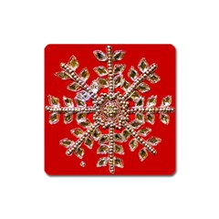 Snowflake Jeweled Square Magnet