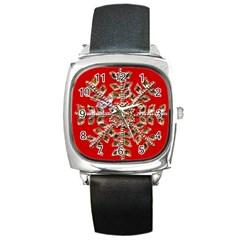 Snowflake Jeweled Square Metal Watch