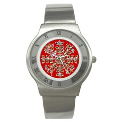Snowflake Jeweled Stainless Steel Watch