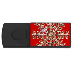 Snowflake Jeweled Usb Flash Drive Rectangular (4 Gb)