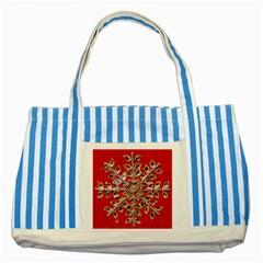 Snowflake Jeweled Striped Blue Tote Bag