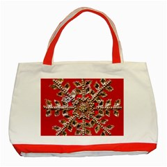 Snowflake Jeweled Classic Tote Bag (Red)