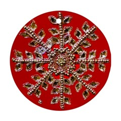 Snowflake Jeweled Round Ornament (Two Sides)