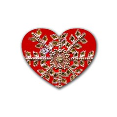 Snowflake Jeweled Rubber Coaster (heart)