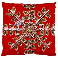 Snowflake Jeweled Large Cushion Case (One Side)