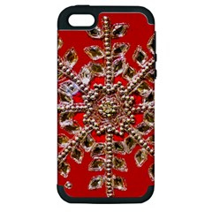 Snowflake Jeweled Apple Iphone 5 Hardshell Case (pc+silicone)